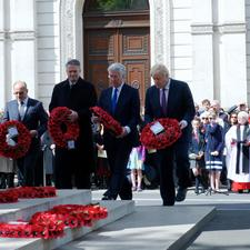 Representatives of HM Government - including Michael Fallon and Boris Johnson - lay wreaths at the Cenotaph. Image by Peter Livingstone, with thanks.