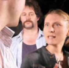 AND ANOTHER THING...: Joan (Susannah Saary) giving Danny a piece of her mind while Bernie looks on, unimpressed.